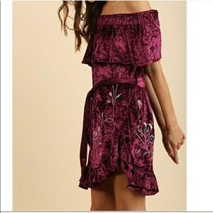 🍁NEW Wine Crushed Velvet Embroidered Dress